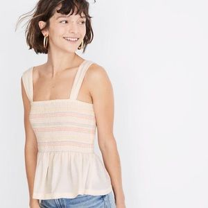 Texture & Thread Rainbow Smocked Peplum Tank Top